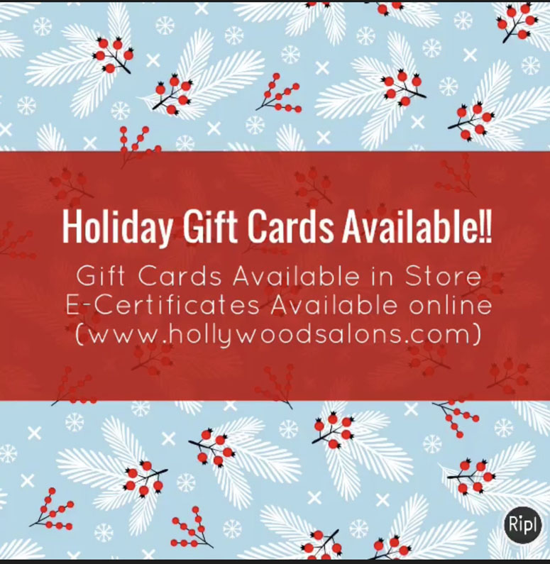 Hollywood Salons Holiday gift card